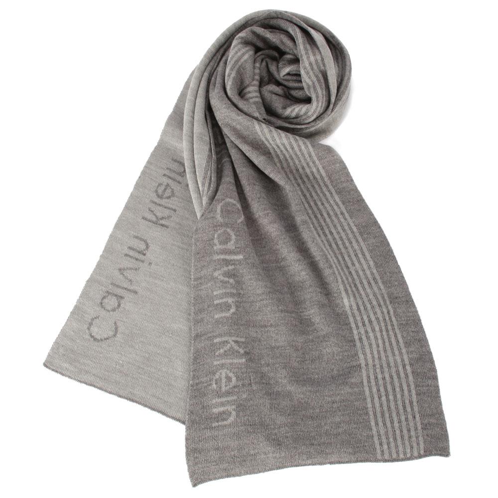 Calvin Klein 素面直條紋針織圍巾-灰