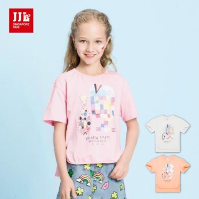 JJLKIDS 彩虹魚印花前短後長造型T恤(3色)