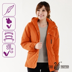 【遊遍天下】Globetex防水女款JIS90%羽絨禦寒中長版外套G0352桔色