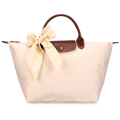 Longchamp 折疊中型水餃包(短提把/象牙色)-加贈帕巾
