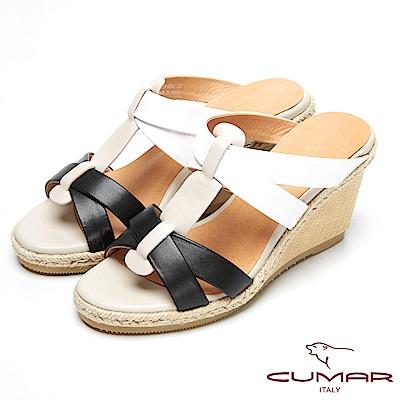 CUMAR撞色時尚-經典編織造型楔型跟涼鞋-白色