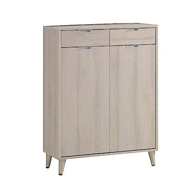 品家居 爾莉特2.7尺木紋二門二抽鞋櫃-80.5x40x111cm免組