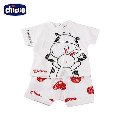 chicco-小乳牛-短袖套裝-白紅點(6-18個月)