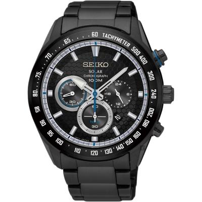 SEIKO精工 Criteria 太陽能限定計時手錶(SSC591P1)-鍍黑/43mm