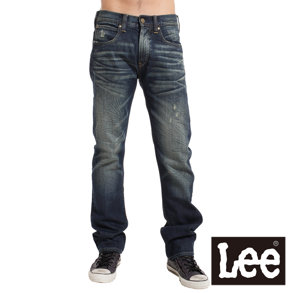 Lee 724 中腰標準修身直筒牛仔褲-男款(二手深藍)