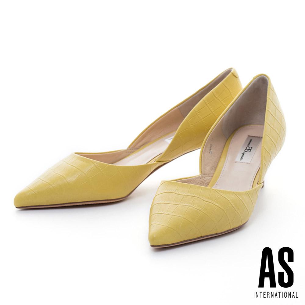 AS 鱷魚壓紋羊皮側空造型尖頭高跟鞋-黃