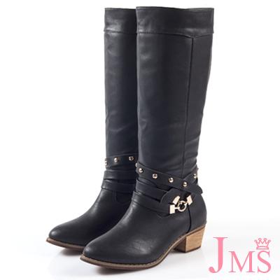 JMS-時尚金屬交叉鉚釘扣環馬蹄跟長靴-黑色