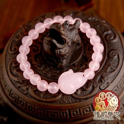 粉水晶 狐仙粉晶桃花手鍊 含開光 臻觀璽世