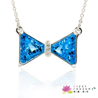 微醺禮物 項鍊 施華洛元素水鑽 鍍白金 藍蝴蝶結 項鍊