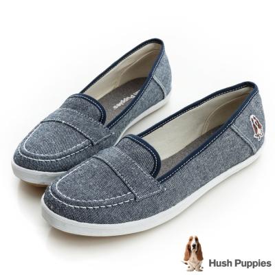 Hush Puppies 單寧風潮咖啡紗摩卡娃娃鞋-灰藍