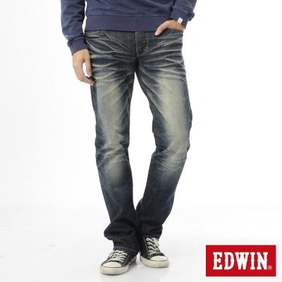 EDWIN 江戶勝 EDGE中直筒牛仔褲-男-酵洗藍