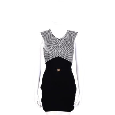 VERSACE 黑白條紋拼接無袖洋裝