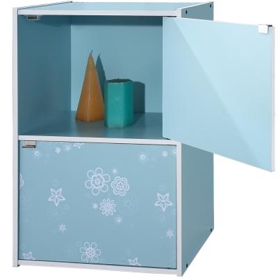 EASY-HOME-二格二門收納書櫃-藍