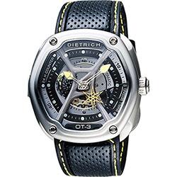 DIETRICH OT系列 生化機械鏤空腕錶-黑x黃指針/46mm