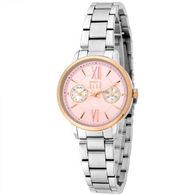 ELLE 雙眼設計感粉紅跳色不鏽鋼時尚腕錶-粉紅/29mm