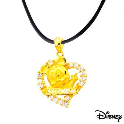 Disney迪士尼金飾 愛心米奇黃金墜子 送項鍊