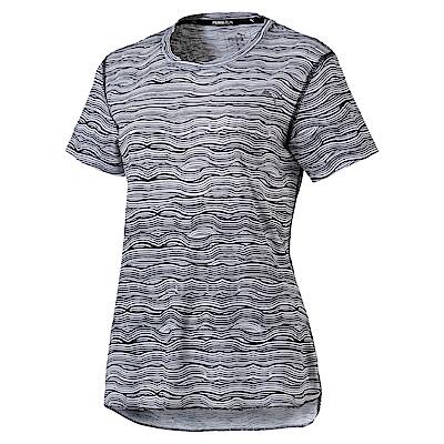 PUMA-女性慢跑系列印花短袖T恤-黑色-歐規