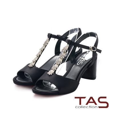 TAS 緞面流蘇晚宴粗跟涼鞋-優雅黑