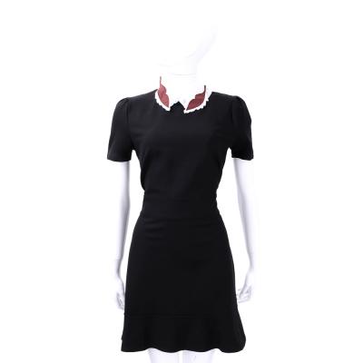 RED VALENTINO  黑色造型領飾短袖洋裝