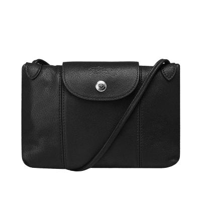 LONGCHAMP LE PLIAGE CUIR小羊皮手提/斜背包(黑色)