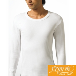 宜而爽 時尚經典型男舒適厚棉圓領衛生衣白色2件組