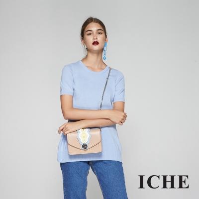 ICHE衣哲 喀什米爾羊毛長版質感針織上衣-藍(兩色)