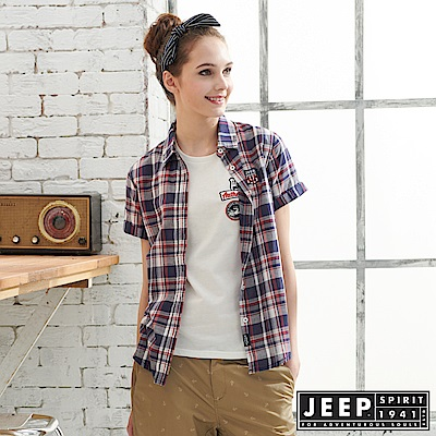 JEEP 女裝 經典格紋襯衫-藍紅色