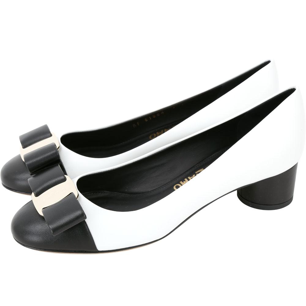 Salvatore Ferragamo VARA 蝴蝶結優雅拼色羊皮粗跟鞋