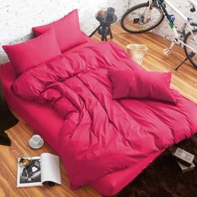 舒柔時尚 精梳棉 二件式枕套床包組 單人 桃紅 生活提案