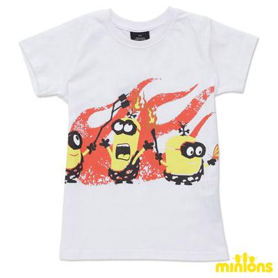 Minions-著火的石器小小兵短袖T恤-白(童)