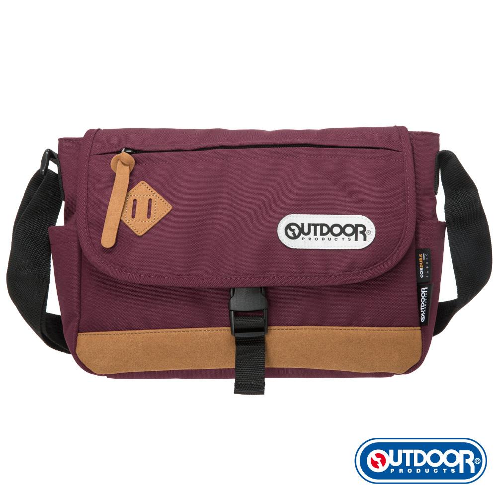 OUTDOOR-率真年代系列-皮底斜背包-酒紅 OD62028BD