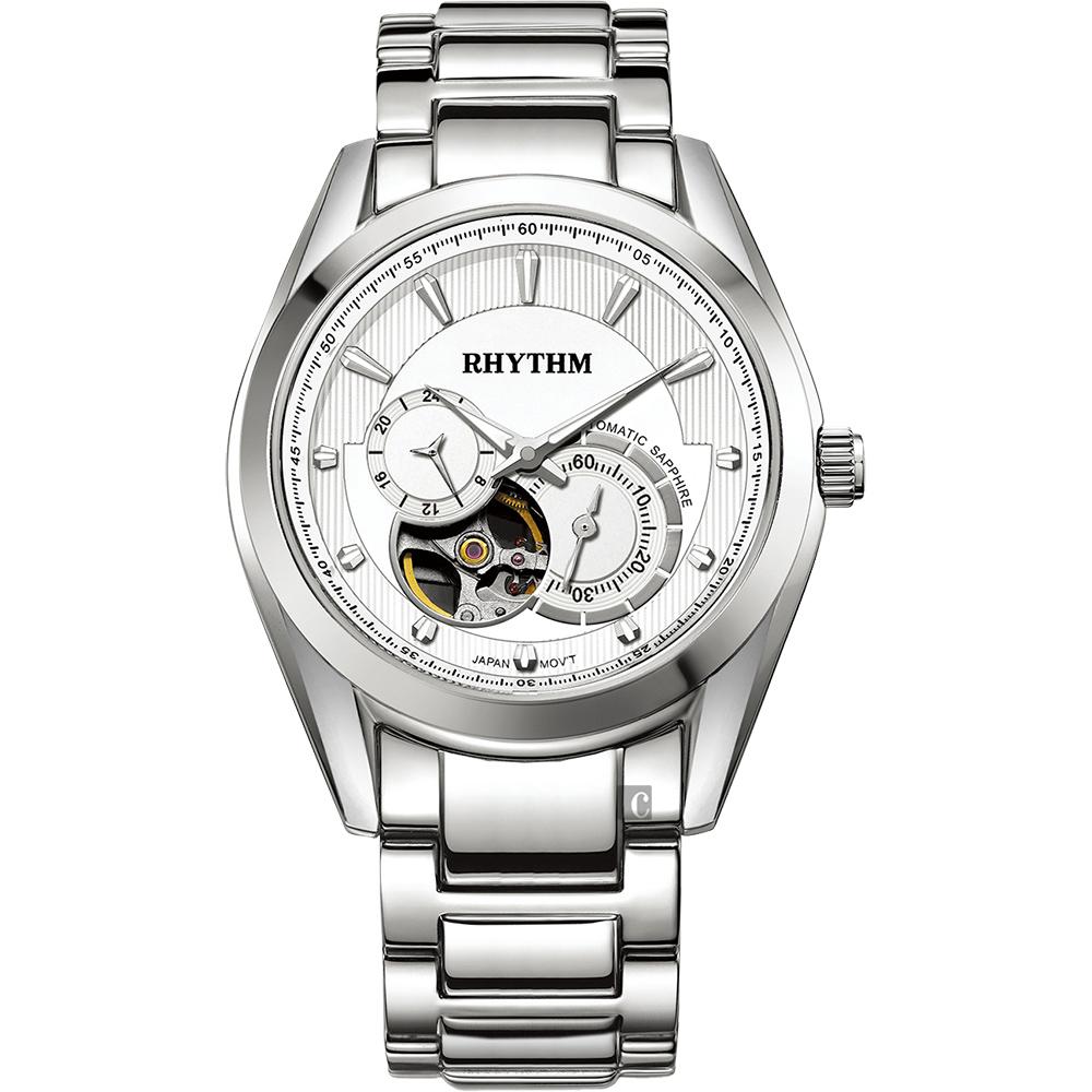 RHYTHM日本麗聲 紳士鏤空機械錶-銀/45mm A1402S01
