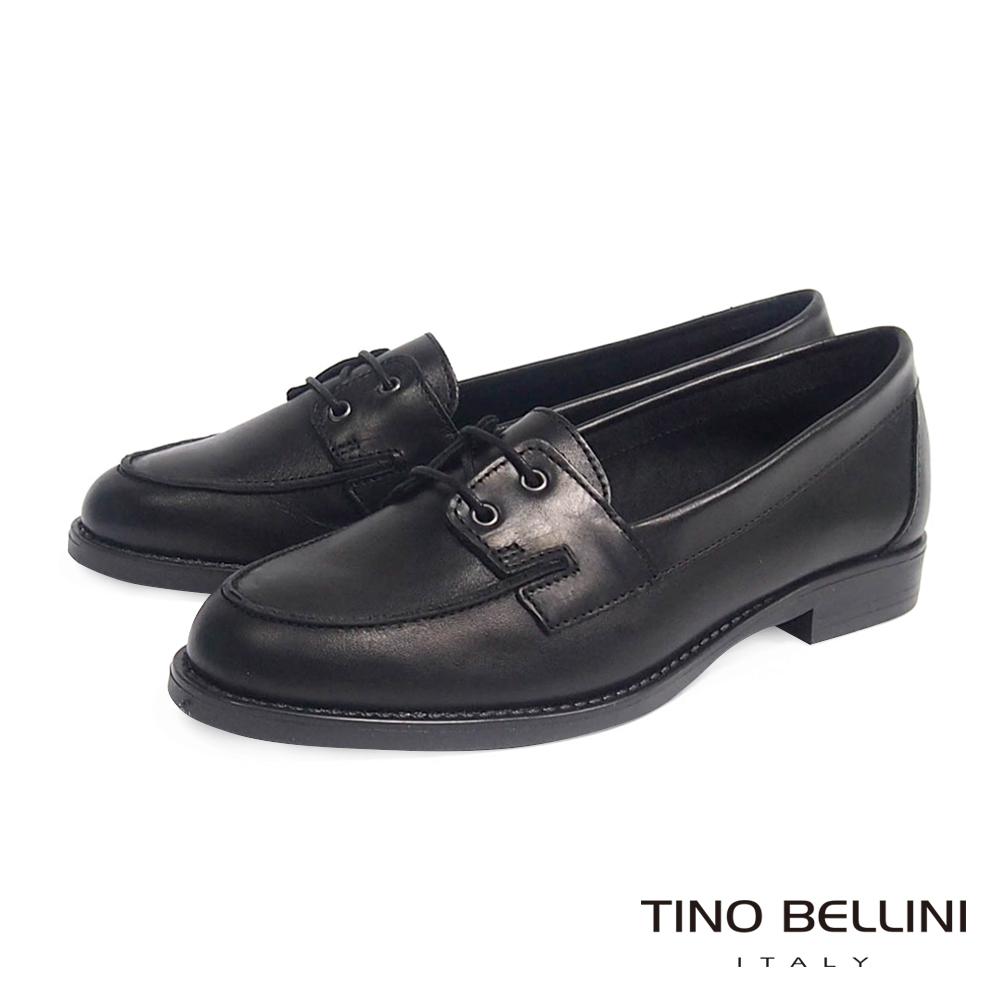 Tino Bellini 義大利進口真皮綁帶樂福鞋_黑