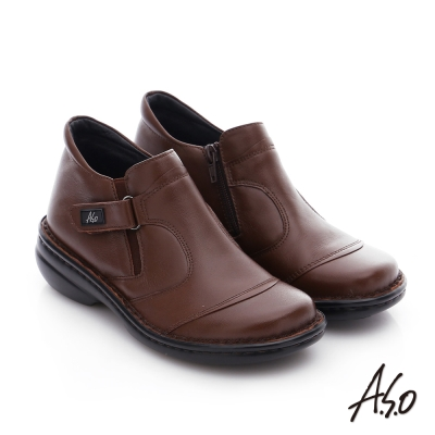 A.S.O 手縫氣墊-3E寬楦 真皮氣墊鞋 咖啡
