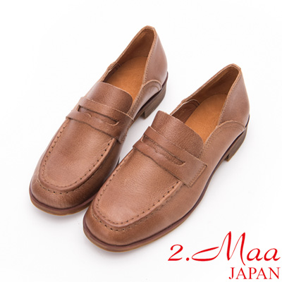 2.Maa - 刷舊復古感打蠟牛皮休閒樂福鞋-棕