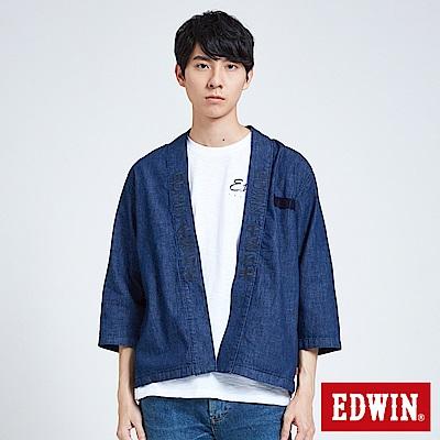 EDWIN 築地系列開襟道袍襯衫-中性-原藍色