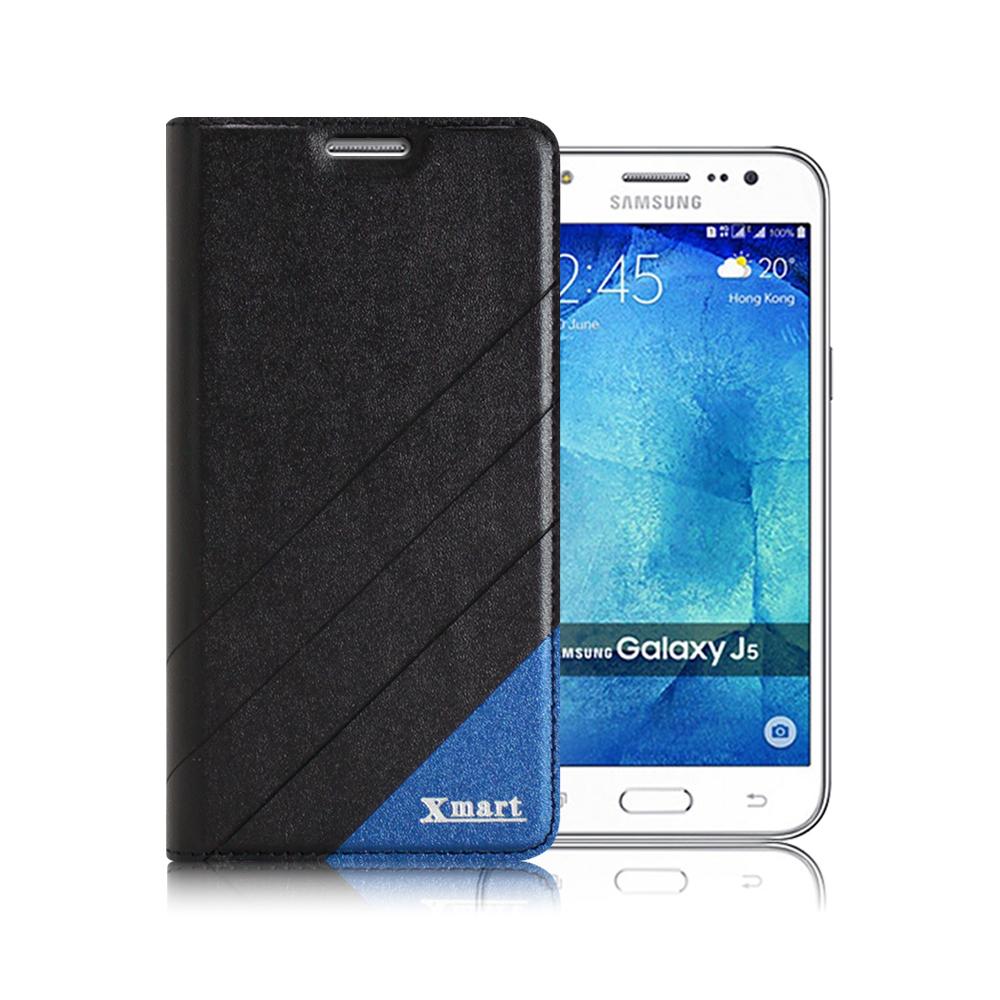 X mart Samsung Galaxy J5  完美拼色磁扣側翻皮套