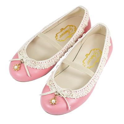 Swan天鵝童鞋-蕾絲花邊珍珠吊飾公主鞋 3747-粉