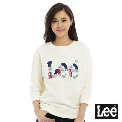Lee LOGO長袖圓領厚T恤-女-米白