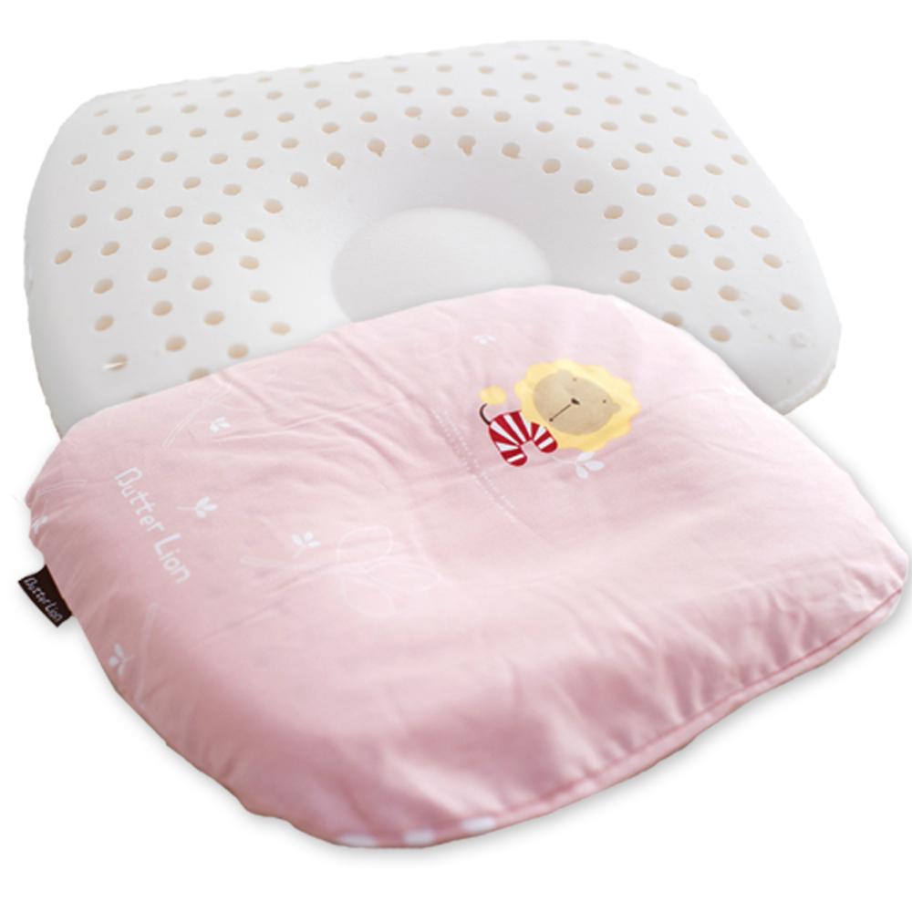 奶油獅-馬來西亞天然乳膠新生嬰兒模塑造形圓枕-粉紅