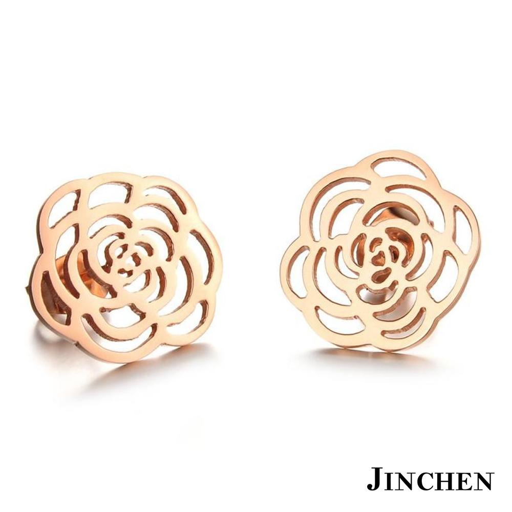 JINCHEN 白鋼薔薇耳環 玫瑰金