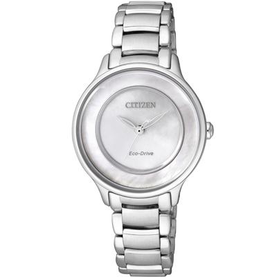 CITIZEN L光動能 愛意璀璨時尚腕錶(EM0380-57D)-白蝶貝/30mm