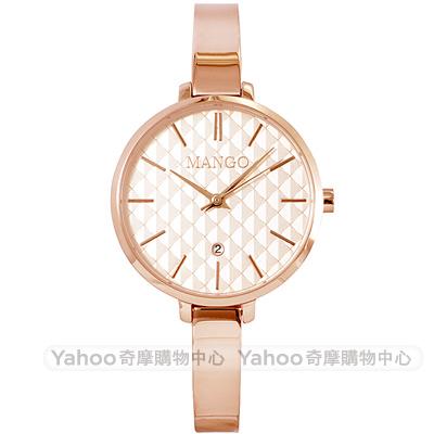 MANGO 優雅格紋時尚手錶-玫瑰金/34mm