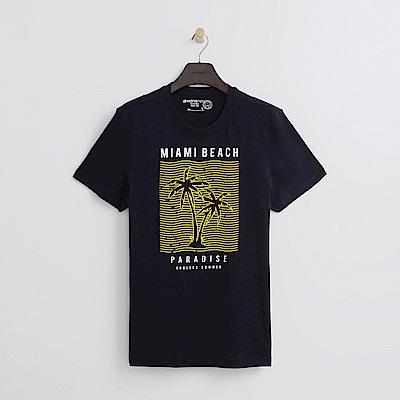 Hang Ten - 男裝 - 有機棉  簡單手繪MIAMI BEACH上衣-藍紫色