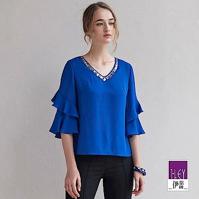 ILEY伊蕾 層次荷葉七分造型袖寬版上衣(黑/藍)