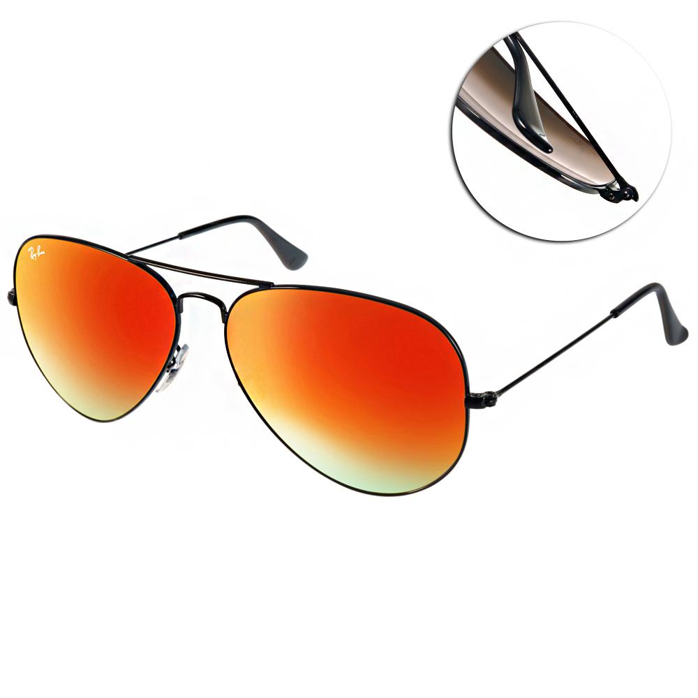 RAY BAN太陽眼鏡 經典飛官/黑-水銀橘紅#RB3025 0024W(大版)