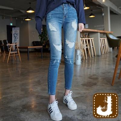 正韓-仿舊斑駁抽鬚緊身長褲-藍色-100-Korea-Jeans
