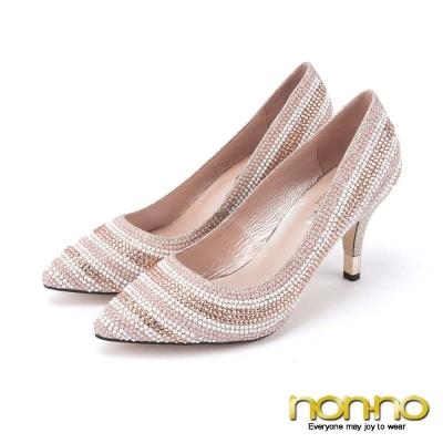 nonno-巴黎香檳-金蔥珠鑽尖頭高跟鞋-粉