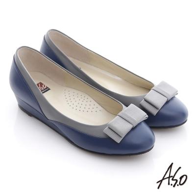 A.S.O 粉領之戀 全真皮織帶復古甜美楔型鞋 藍