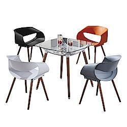 AT HOME-設計2.7尺方形玻璃洽談桌休閒桌椅組-一桌四椅(80*80*75cm)